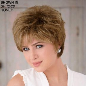 """Rosemary - WhisperLite® Wig by Paula Young®. $70. Style: Wavy Material: Synthetic Length: Short; 4 1/2"""" front & crown; 2 3/4-4 1/2"""" top; 3 3/4"""" upper back; 3"""" sides; 2 3/4"""" nape. Weight: 2.3 oz. Features: Kanekalon® WhisperLite® fiber, Open ear tabs, Extended neck."""