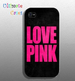 Iphone 4 case  Love Pink iphone4s case by ultimatecases on Etsy
