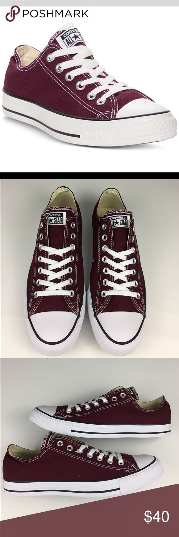 Converse Ox Sneakers. M=10, W=12 Burgundy converse Chuck Taylor Ox Casual sneakers. An All-American shoe. Unisex. Men's 10. Women's 12.  New in box. No tags attached. Converse Shoes Sneakers