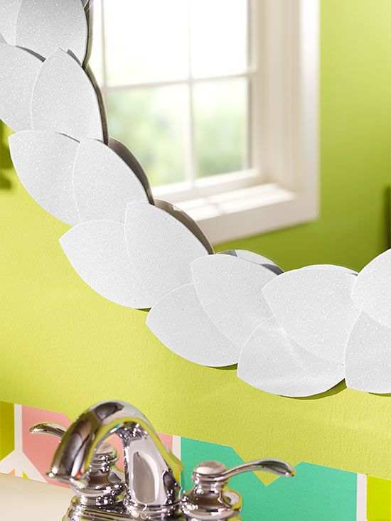 DIY: Leaf Mirror Frame - Use craft foam-adhesive sheets, available at craft stores. Trace a leaf pattern on the back of the foam sheets, then cutout.