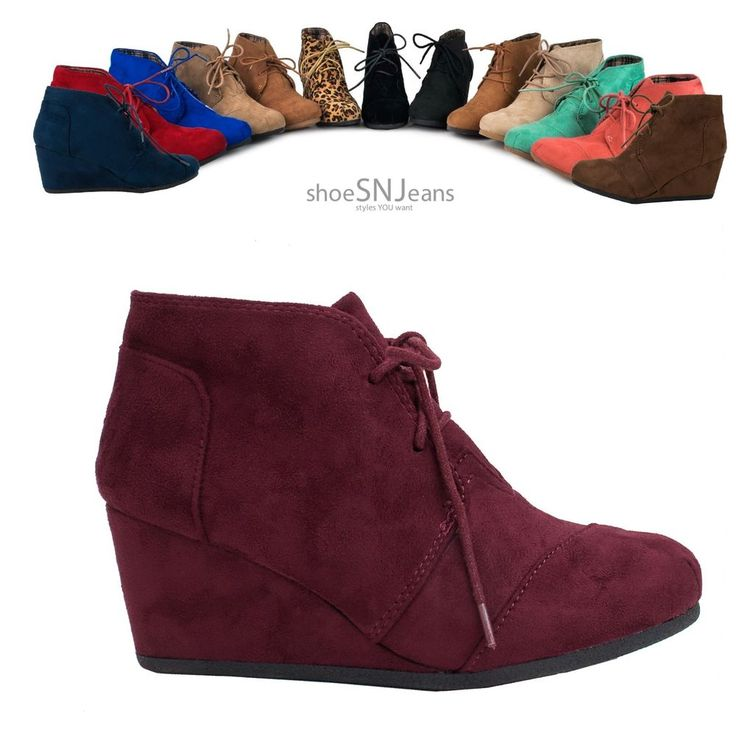 Women Wedge High Heel Booties Lace Up Round Toe Ankle Boots Cute Casual Shoes #ForeverFVCityClassifiedCC #BootiesWedgeHeel