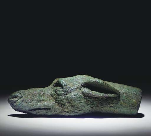 A Roman Bronze Head of a Hound, Probably a Handle Terminal   2nd cent  CE