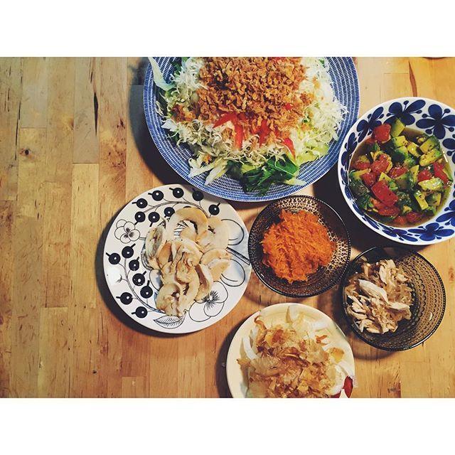 WEBSTA @ ka____311 - 美味しいサラダの作り方教えてください#野菜日と言いながら#鳥ハム