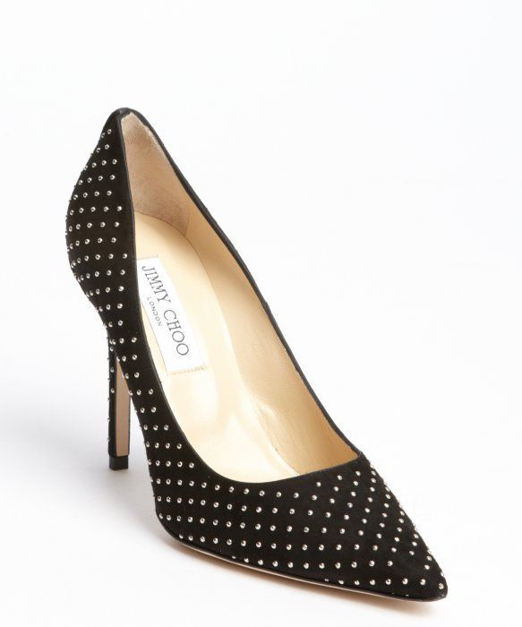 jimmy choo black suede metal studded abel pumps jimmychooheels rh pinterest com