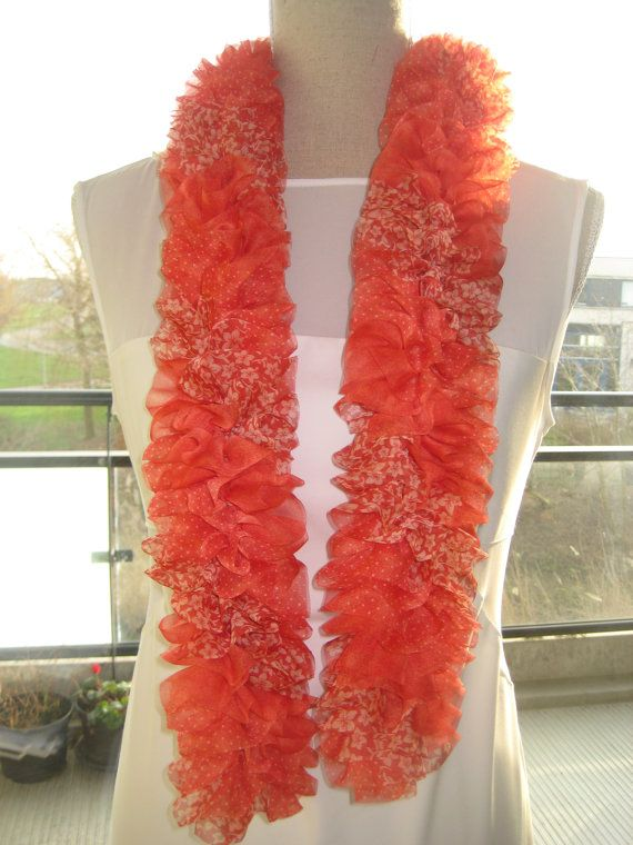 On Sale disc 20  Ruffle Scarf  Red Tomato  by MinnieCreation, €48.75