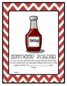 Having students absent from school can be a mess when it comes to getting them to complete their work and bring it back. These 'Ketchup' folders are sent home and students return their work and the folder when the work is completed. How to set it up:1 - Edit your printable2 - Paste to the front of a pocket folder3 - Laminate and cut slits where pages go through.I did not make a class set of these.