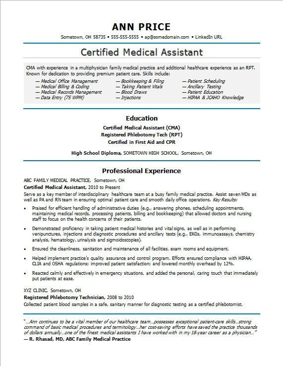 Sample Resume For A Medical Assistant Medical Assistant Resume