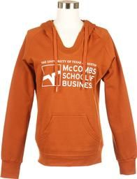 Share your school pride with a McCombs School of Business, burnt orange women's hoodie. Available at the University Co-op.