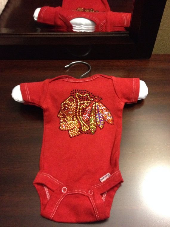Custom made Red Dip Dyed Blackhawks Baby esie with