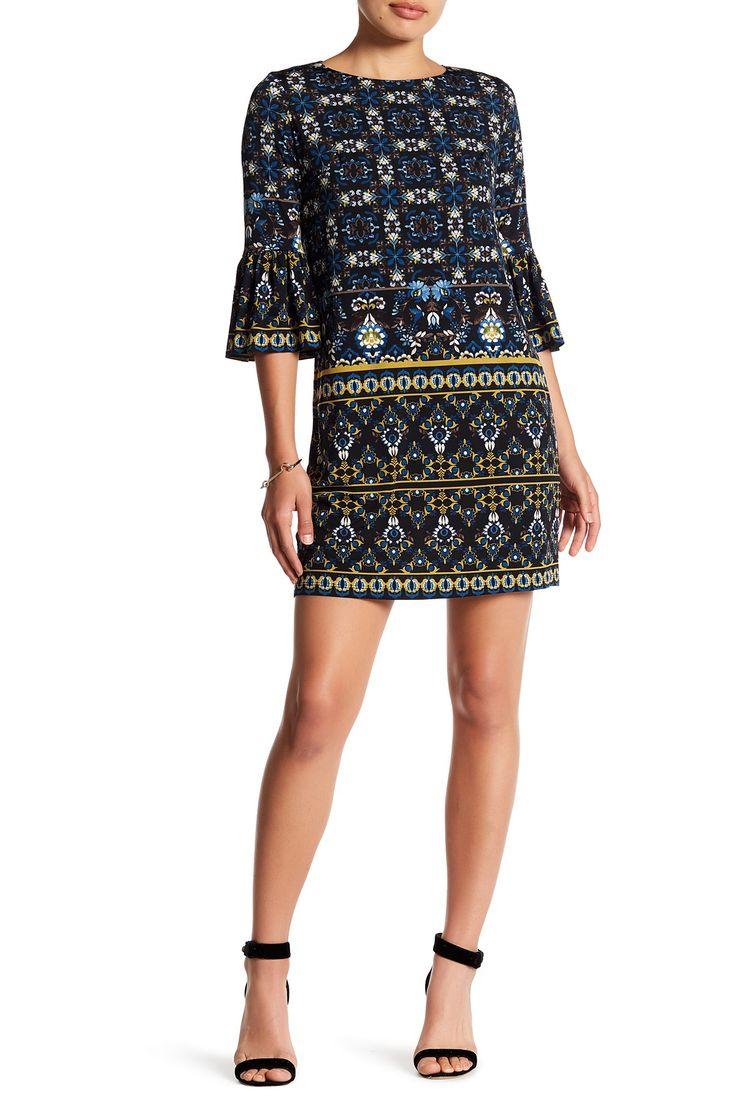 3/4 Length Sleeve Print Shift Dress (Petite)