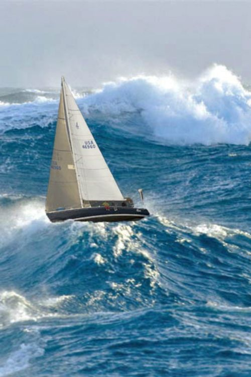 Would you be able to stomach these stormy waves? What a bold sailor to leave the sails up at full mast!