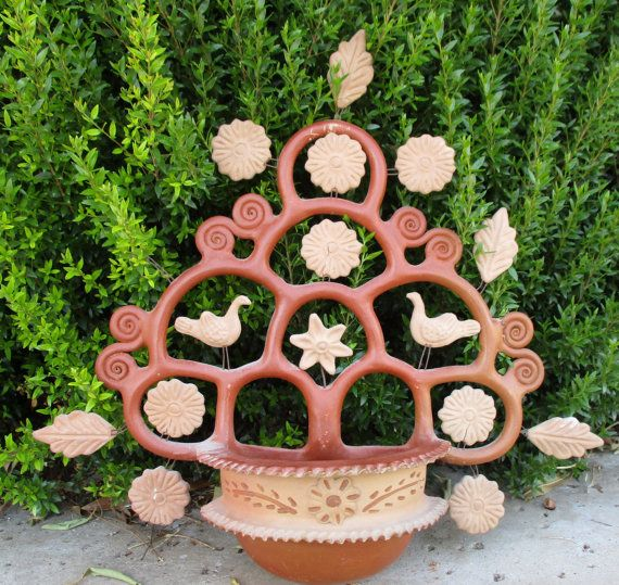Vintage Mexico Ceramic Pottery Tree Of Life Terra Cotta