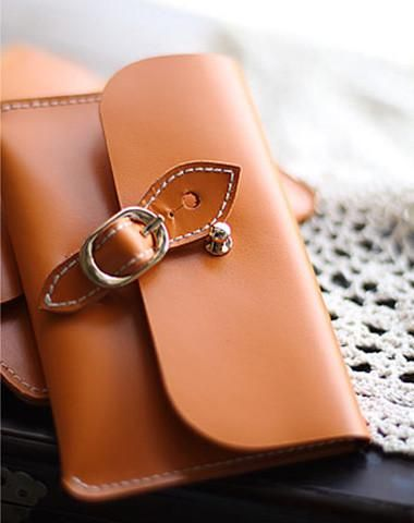 Handmade vintage rustic pretty leather iphone case cover bag pouch for women/lady girl