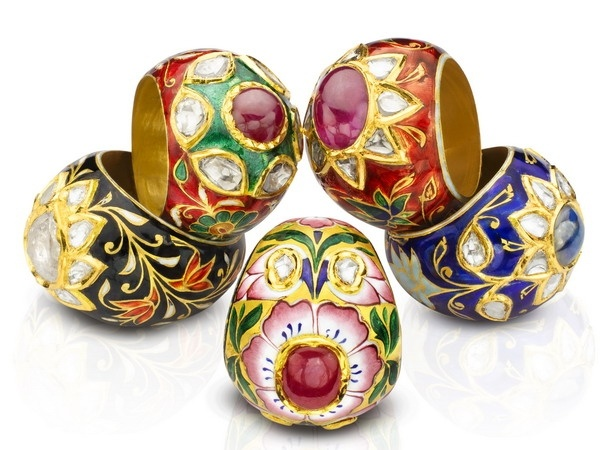 Meena and kundan rings