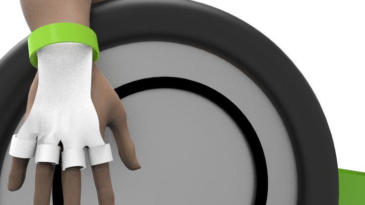 Wearable , Guante para atletas paralimpicos. Expresion VII #RHINO #KEYSHOT