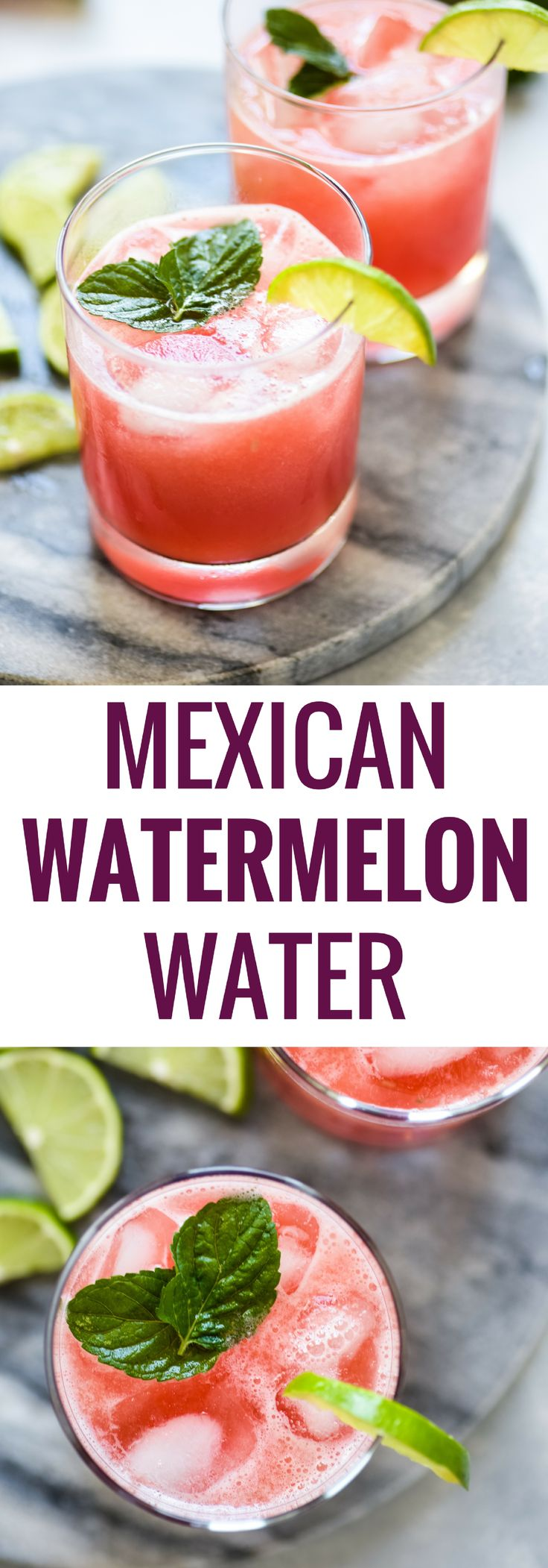 Made with only 3 ingredients, this Mexican Watermelon Water (Agua de Sandia) is a light and refreshing drink that's easy to make and low in calories. Add some vodka or tequila for a great summer cocktail!