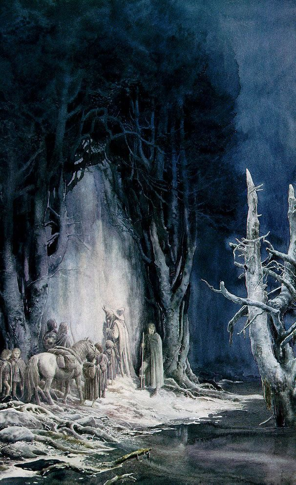 Alan Lee's Lord of the Rings Artwork / The Fellowship at the entrance to Moria