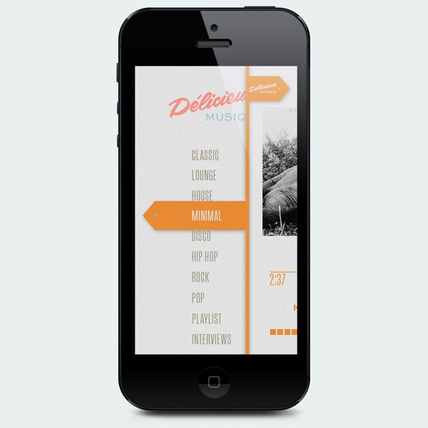 APP Delicieuse Musique by Adam Mathias, via Behance