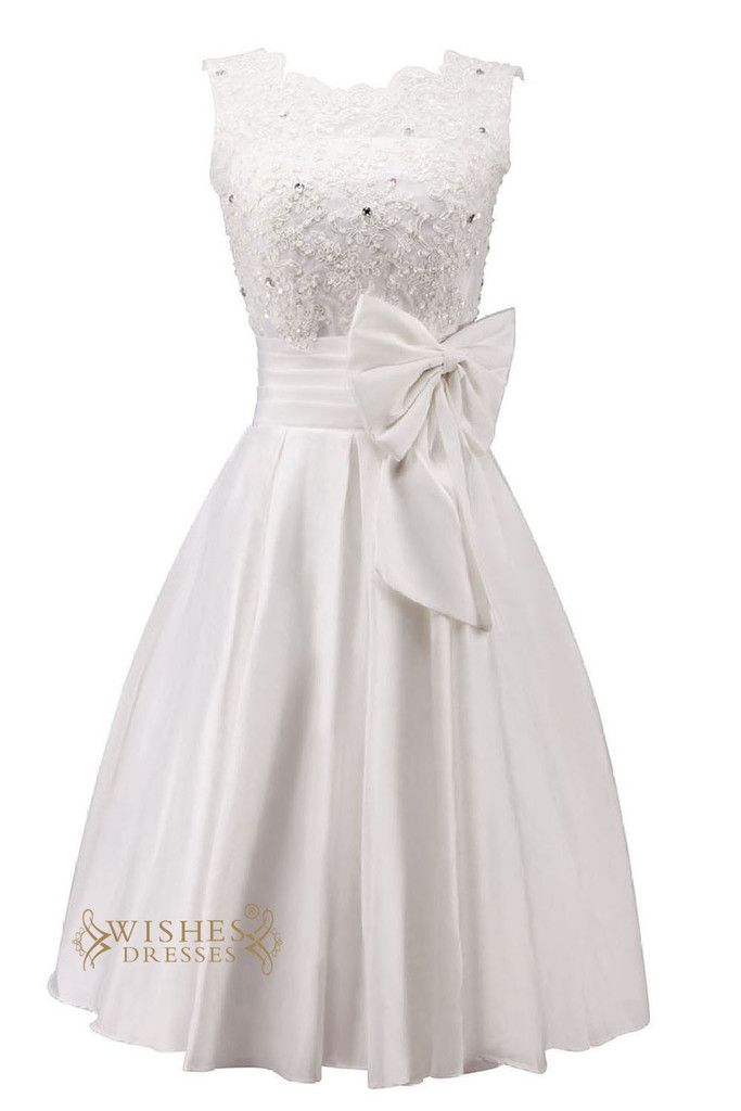 A-line satin bridal gown with knee length and applique detail on the top while the big bowknot at waist embellishment looks very lovely,this short cocktail dress with o neck and corset back design,plu
