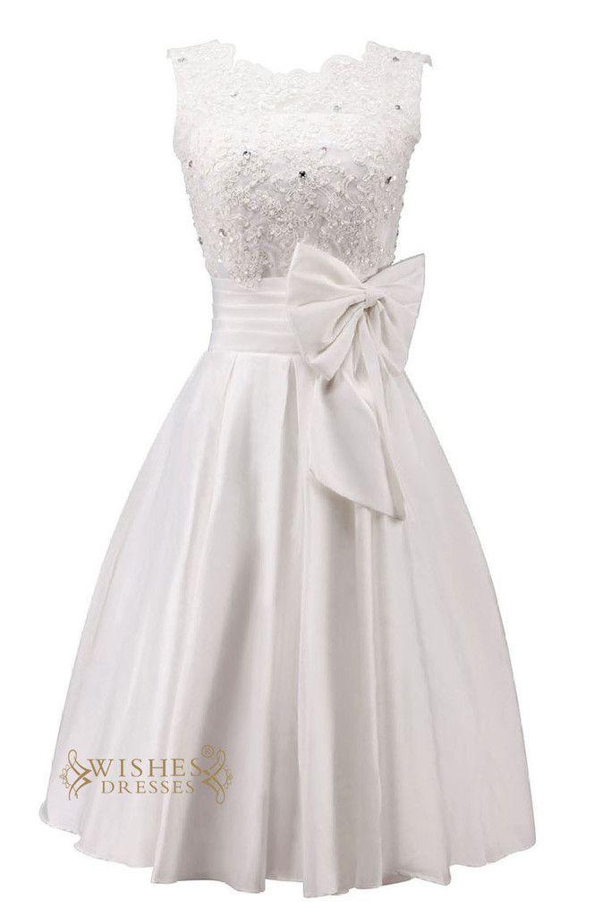 Pretty Applique and Bowknot Short Wedding Dress/ Reception Bridal Gown/ Engagement Dress Am46