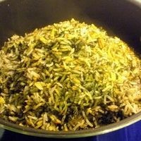 SABZI POLO---buttered rice with herbs. a traditional persian new year dish, often served with fried fish. i like to add some saffron to mine also. a delicious and aromatic dish. this rice also pairs well with chicken.