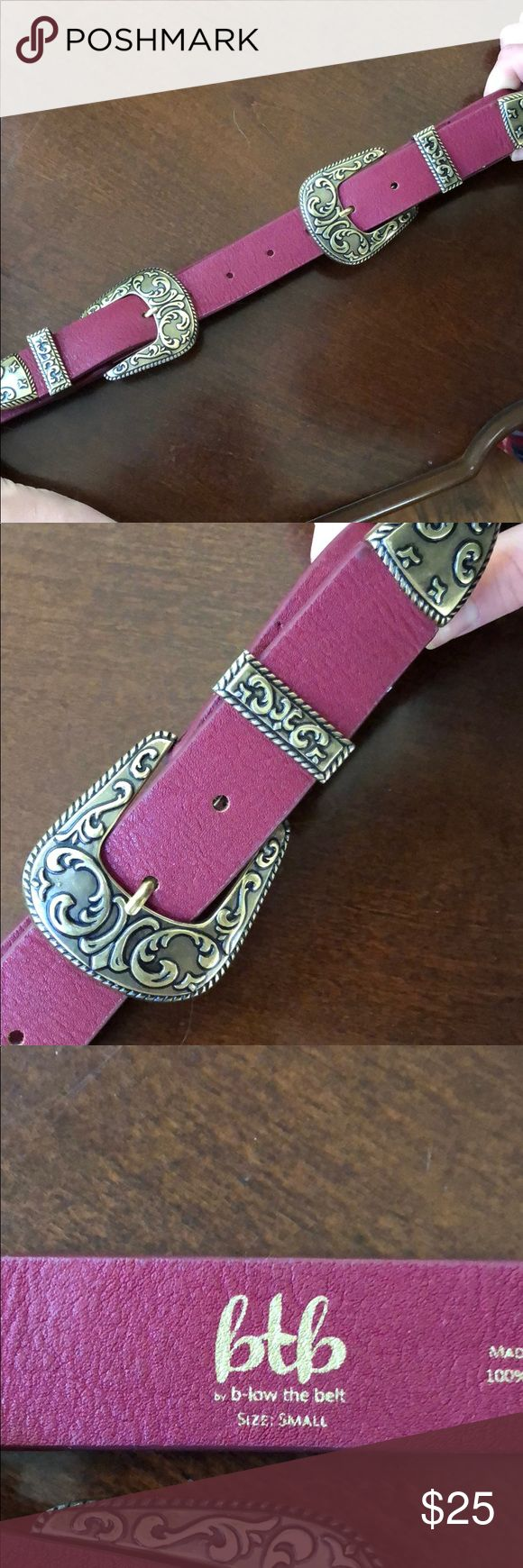 B-Low The Belt Small Double Buckle Belt Super cute, deep red double buckle belt. Size small. Gold hardware. New without tags. B-Low the Belt Accessories Belts