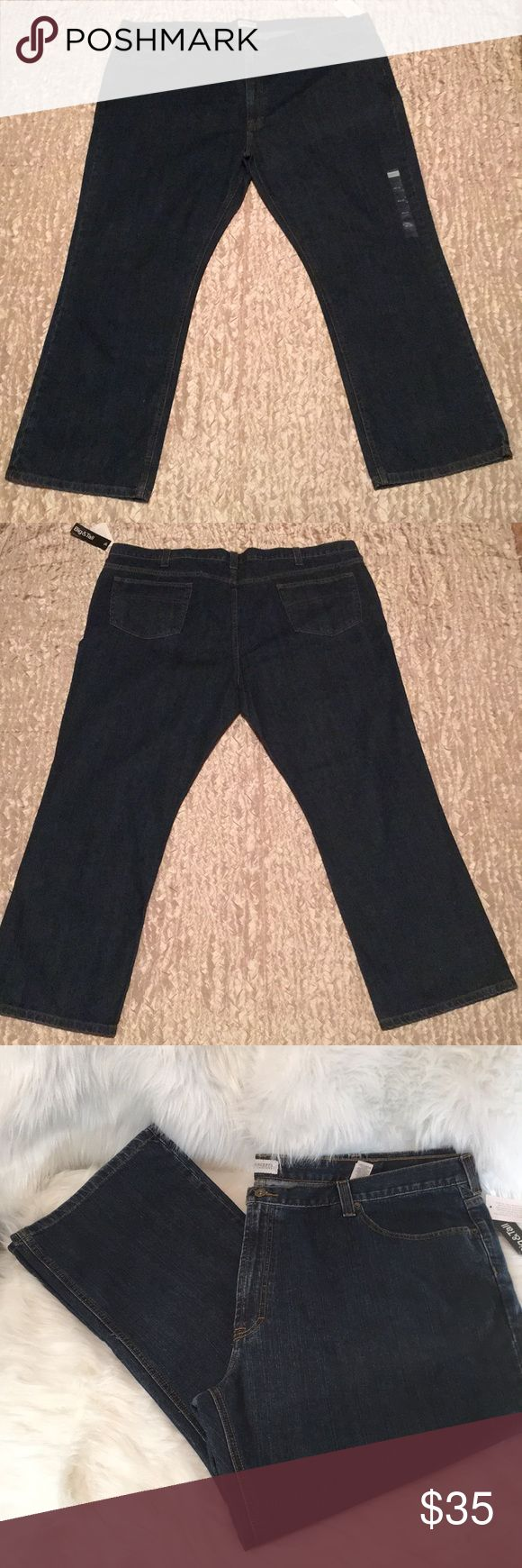 """Concepts Liz Claiborne Men's Jeans 48/30 Big&Tall Well made. Double stitched. Rise is 14"""". Single metal button. I measured the waist, top of the waist band which is normally the smallest measures 52"""". 1 1/2"""" waist band. 2 1/4"""" belt loop. Thigh measures 14 1/2"""" straight across. Ankle width is 10 1/2"""" across. 2 back pockets. 2 front pockets. New. Non smoking home liz Claiborne Concepts Jeans"""