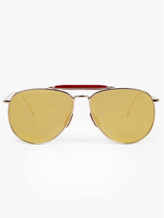 Thom Browne Men's Gold TB-015 Limited Edition Aviator Sunglasses