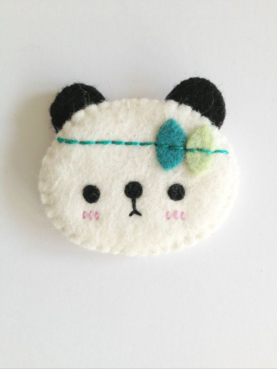 Sweet panda brooch! Made using wool blended felts and beautifully hand-stitched using my own original pattern.    Panda measures approx 4cm tall and