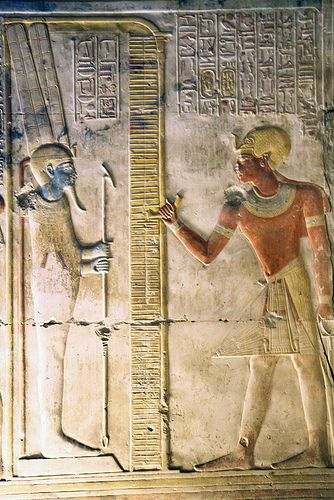 Temple of Seti l at Abydos.  Well, hey, blue dude.  Surely there weren't REALLY blue dudes running around ancient Egypt, just like there weren't blue dudes running around ancient India.  Right?