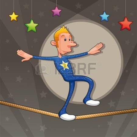 Divertido equilibrista camina por la cuerda floja. Historieta y la ilustraci�n vectorial. photo