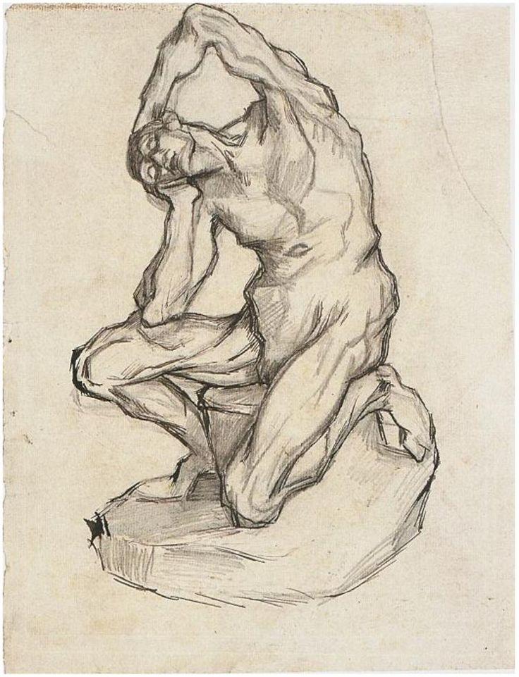 """Vincent van Gogh """"Kneeling Écorché"""" 1887"""