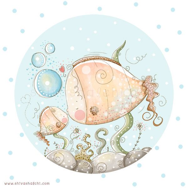 Bambini illustrazione - Nursery - pesce mamma e bambino amore di ShivaIllustrations su Etsy https://www.etsy.com/it/listing/152395820/bambini-illustrazione-nursery-pesce