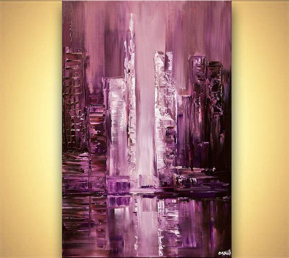 ORIGINAL Downtown Painting Purple Modern Acrylic by OsnatFineArt