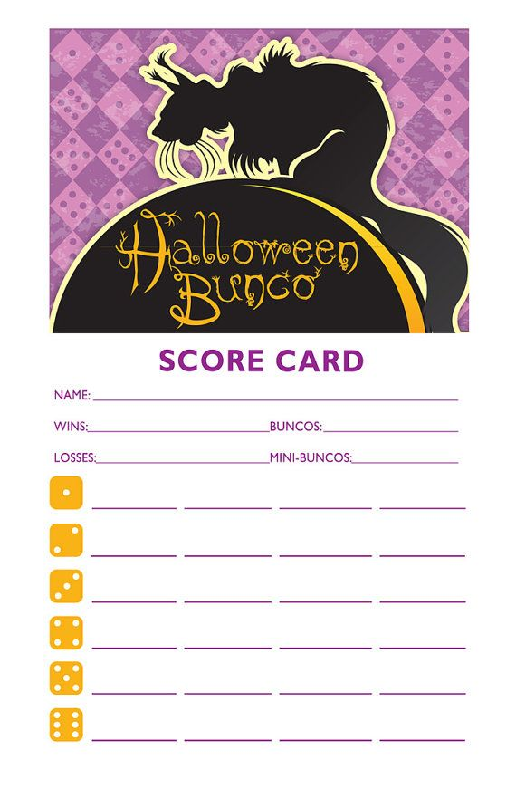 Printable Halloween Bunco Score And Table Card Set By