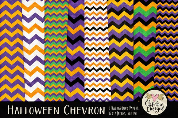 Halloween Chevron Texture Pack by Clikchic Designs on @creativemarket