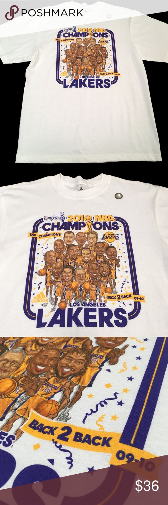 LA Lakers 09-10 Back 2 Back Champs Kobe Basketball Brand new condition Rings baby! Kobe Represent Trusted Adidas quality  Please check measurements in pics for fit reference  Smoke and pet free environment Happy to answer any questions or provide more images  Thanks for looking and Happy Poshing! Adidas Shirts Tees - Short Sleeve