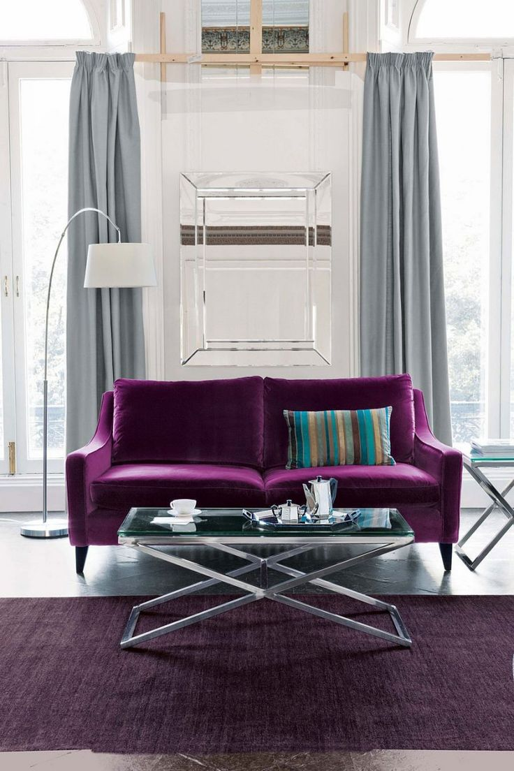 Purple Sofa... Interior Design. Small Space Living Room. Well I Have