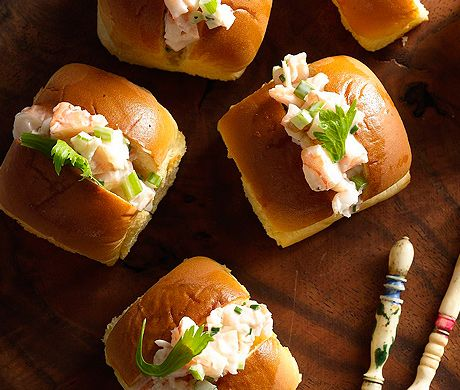 Mini Shrimp Rolls - A simple shrimp salad is served in small dinner rolls in this fun (and easy) twist on the traditional New England lobster roll.