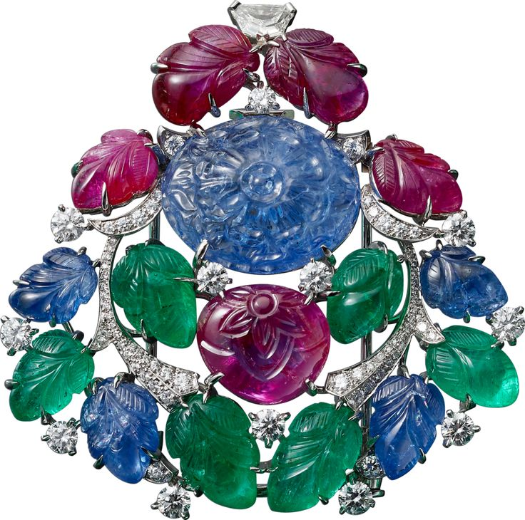 "CARTIER. ""Rajasthan"" Brooch - platinum, one 16.40-carat carved sapphire from Burma, carved rubies, sapphires diamonds, and emeralds, one"