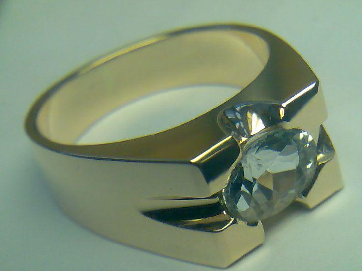 Кольцо Жёлтое золото, белый сапфир