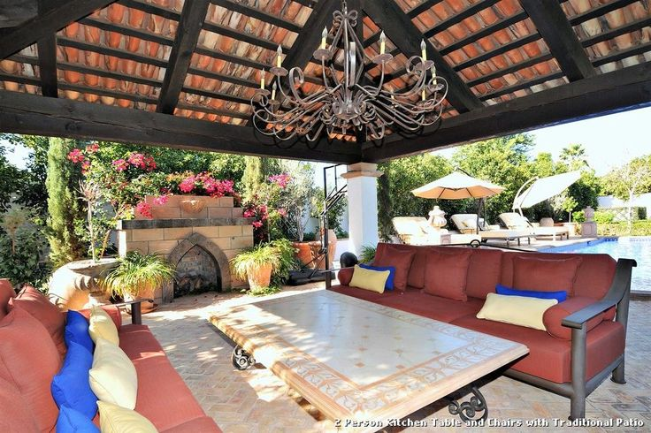 2 Person Kitchen Table and Chairs with Traditional Patio with a Outdoor Umbrellas