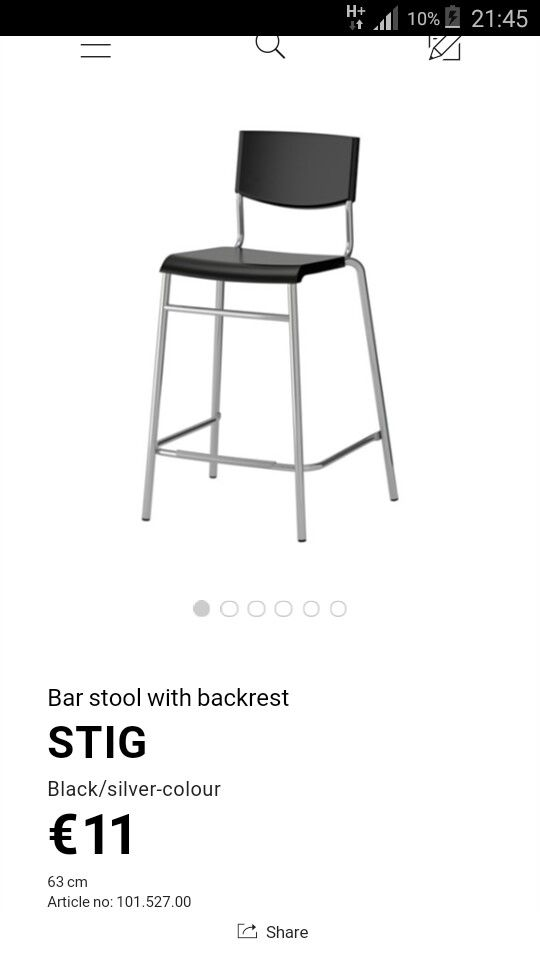 Bar Stool from Ikea Ireland, 2 for the breakfast bar in the kitchen