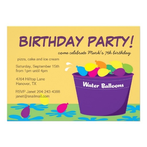 Water Balloon Party Invitation