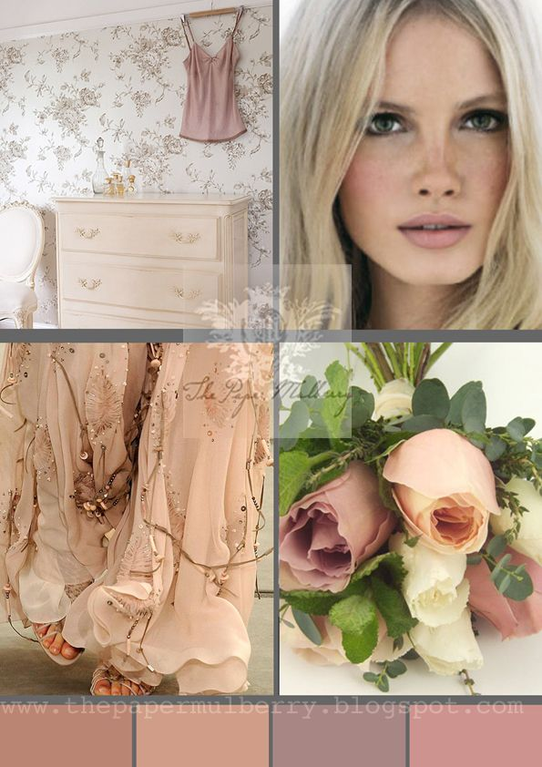 Wedding inspiration - vintage, roses, blush mauve for more info and photo links - The Paper Mulberry: Fabulously Feminine