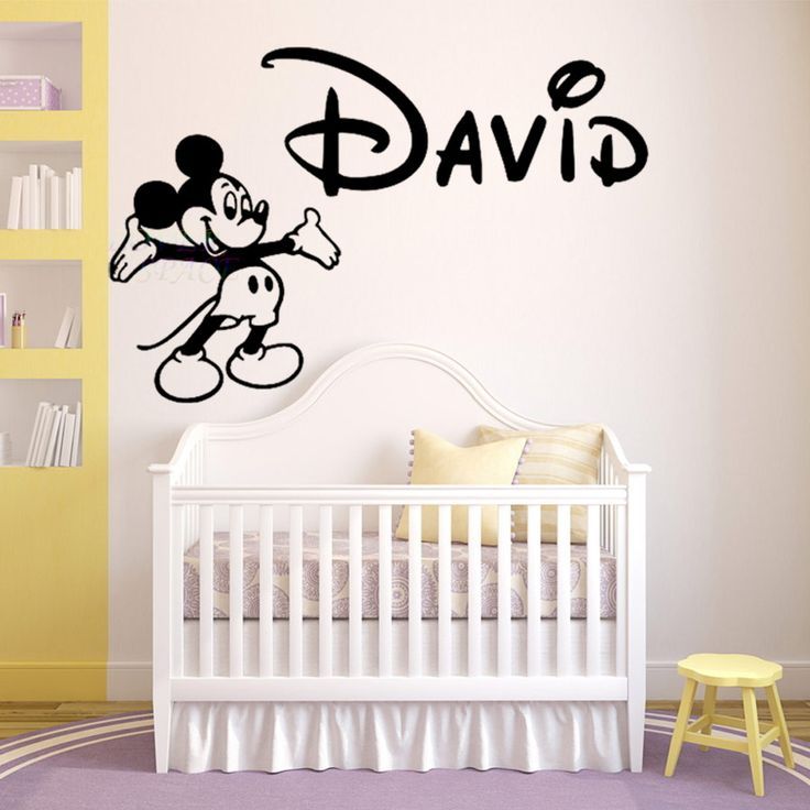 Personalized Name Walt Mickey Mouse Custom Wall Decal Vinyl Sticker Decor Children Baby Nursery KIDS Room Wall Stickers Home Art