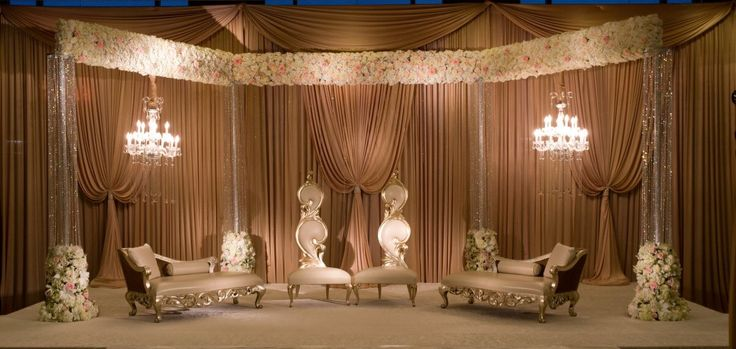 Muslim and Pakistani wedding stage decoration Valimah nikah décor Walima flowers Unique design for Muslim and Pakistani wedding stage. Decoration for Valimah and Nikah. Flowers, lighting, drapery.