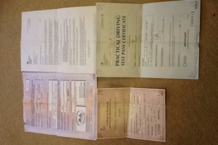CBT theory mod 1 and mod 2 pass certificates ( Full bike licence )