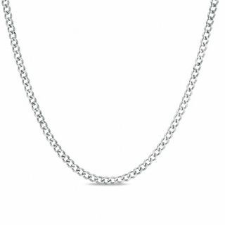 """Men's Stainless Steel 3mm Small Curb Chain Necklace - 24"""" 