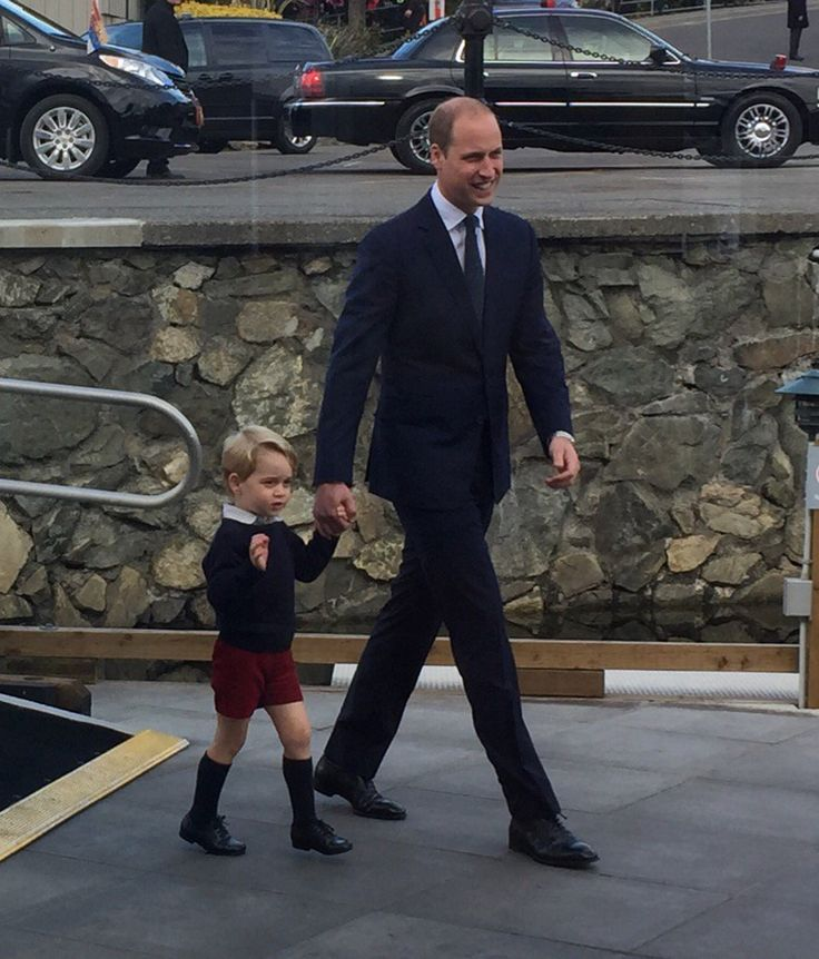 Prince William with his son Prince George in Victoria B.C. Canada September 2016